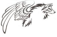 how-to-draw-a-tribal-winged-wolf-tattoo-step-2