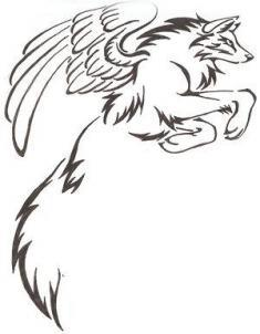 how-to-draw-a-tribal-winged-wolf-tattoo-step-4