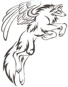 how-to-draw-a-tribal-winged-wolf-tattoo-step-5