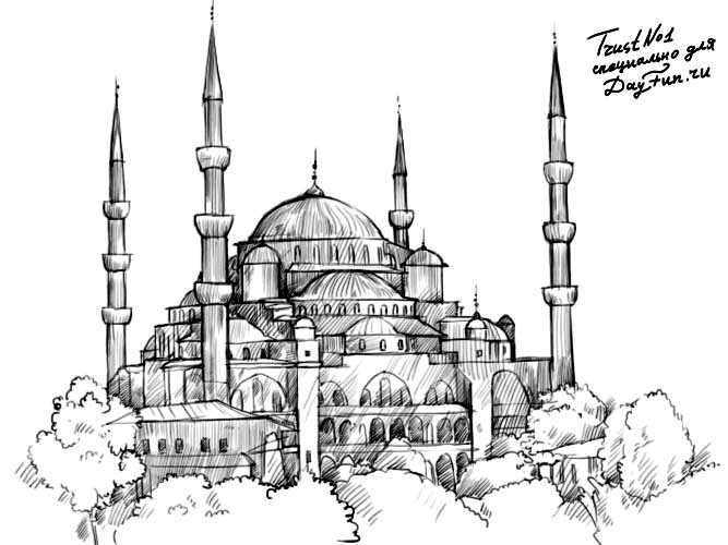 Islamic mosques drawing